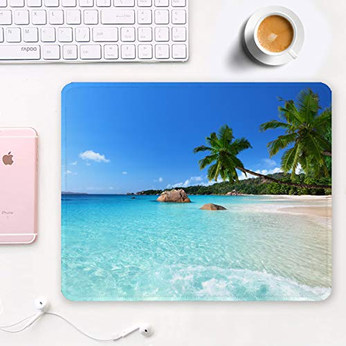 Auhoahsil Mouse Pad, Square Beach Style Anti-Slip Rubber Mousepad with Durable Stitched Edges for Gaming Office Laptop Computer PC Men Women Kids, Cute Custom Pattern, Beach and Coconut Trees Design Photo #3