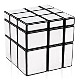 D-FantiX Shengshou Mirror Cube 3x3 Speed Cube 3x3x3 Mirror Blocks Shaped Puzzle Silver Black 57mm