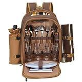 TTLIFE Mochila de picnic para 2/4 personas con bolsa de picnic con aislamiento a prueba de fugas con manta, soporte para botellas de vino, platos y cubiertos multifunción