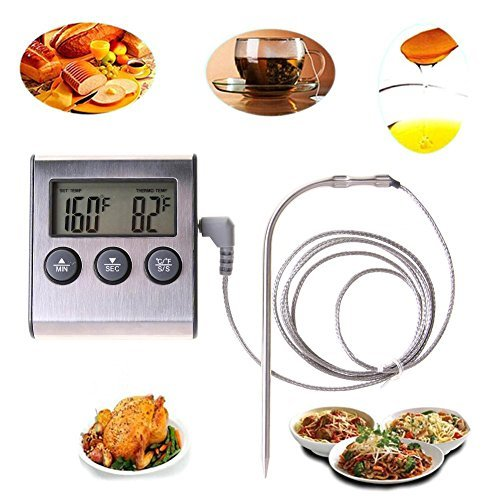 Whitelotous Digital Display Food Thermometer - Probe Timer Meter - for Cooking Kitchen BBQ Meat