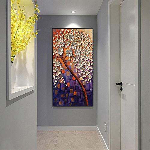Handbeschilderde olieverfschilderij op canvas, abstracte plant, boom, mooie witte bloemen op dikke, bruine stam, hedendaagse grote kunstwerken handgeschilderd voor huis woonkamer 80×160cm