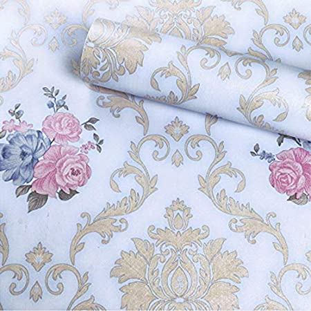 WOW Interiors Golden Floral(200*45CM L*W - 9SQFT Approx.)PVC SELF Adhesive Wallpaper Peel and Stick Easy to Stick and Kitchen Bedroom LIVINGROOM CABINE, Multicolor (White Floral)
