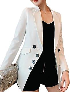 Sodossny-JP 女性ボタンロングスリーブラペル固体カラースリムフィットスーツブレザージャケット