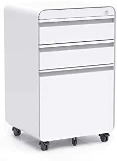 3-Drawer Filling Cabinet, Metal Vertical File Cabinet with Hanging File Frame for Legal & Letter File Install-Free Anti-tilt Design and Lockable System Office Rolling File Cabinet | White