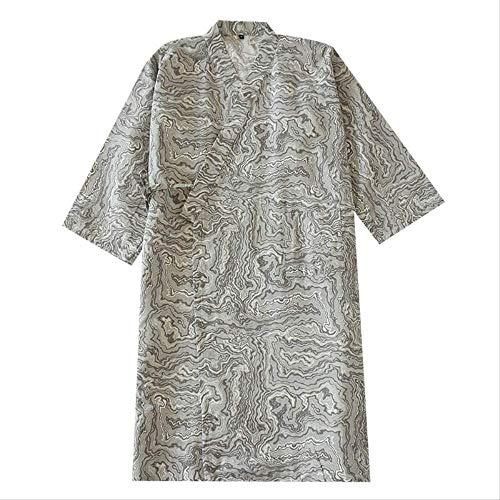XFLOWR Herren Nachtwäsche Kimono Style Homewear Comfort Gaze Baumwollroben Frühling und Herbst Lose dünne Herren Cardigan Bademantel L.