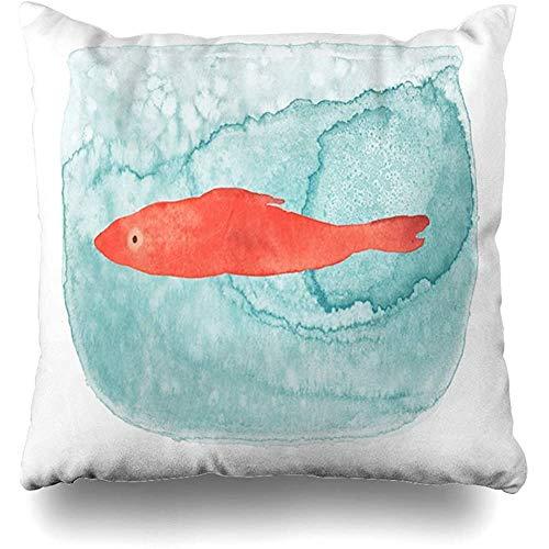 SSHELEY in blauw rood vis kom aquarel natuur aquarium blaas ontwerp hoeveelheid wooncultuur kussensloop grootte decoratieve kussensloop