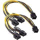 Maibahe 【2 Pack】Carte d'Extension PCI-E 8 pin PCTe to 2 X PCIe 8 (6+2) Broche Câble d'alimentation Carte Graphique PCI-e Express Splitter VGA Power Extension Câble d'accessoires de calcul 30cm