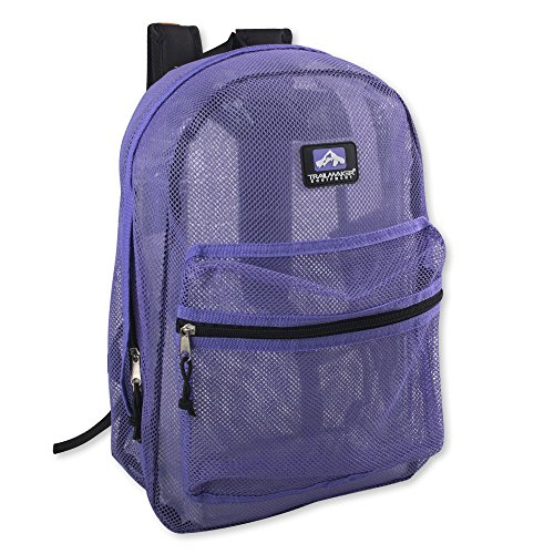 Trailmaker Transparent Mesh Backpack for School, Beach, and Travel, with Padded Shoulder Straps (Lavender)