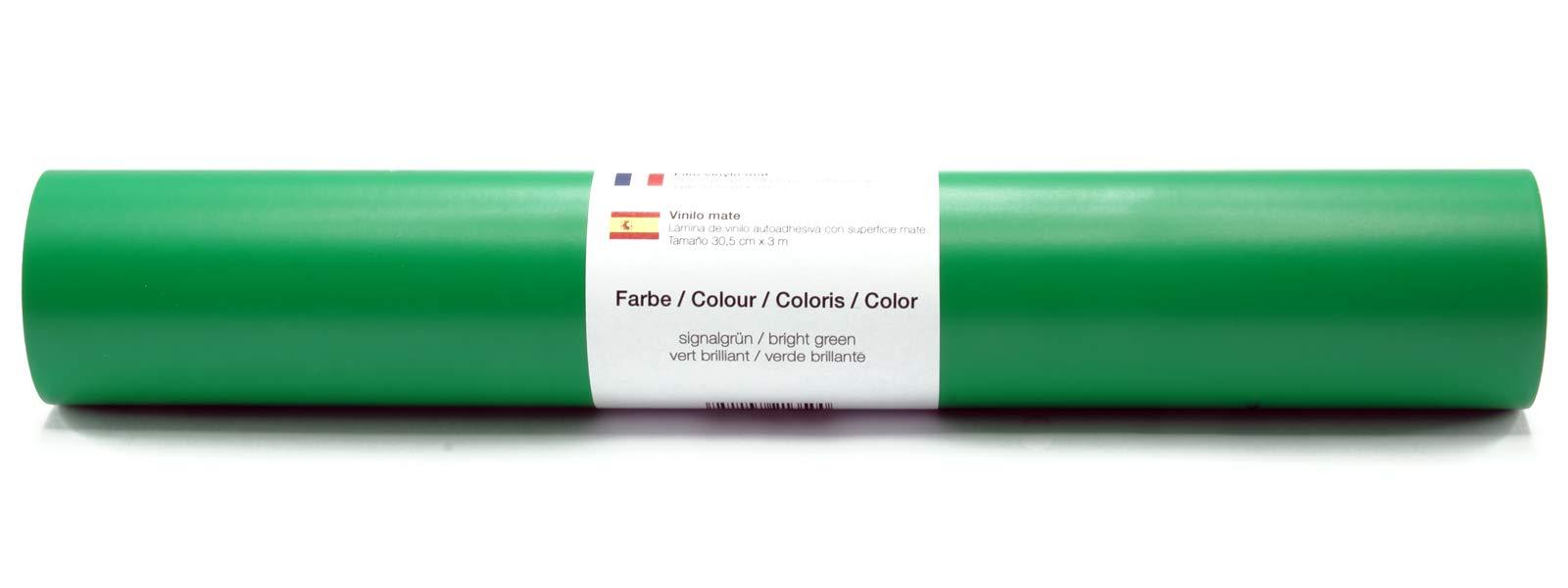 Película autoadhesiva para tatuajes/plotter de pared Película de vinilo mate 30,5 cm x 3 m - selección de color, color: verde brillante: Amazon.es: Hogar