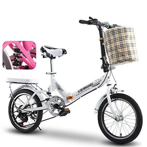 YSHCA 16 Zoll 6 Gang Faltrad Klapprad, Kohlenstoffstahlrahmen Fahrrad Klappfahrrad mit Ständer Gepäckträger und Korb Campingrad Citybike,White-C