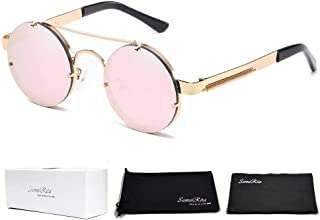 f1dd381b6 SamuRita Spring Temple Rimless Oversized Punk Round Sunglasses