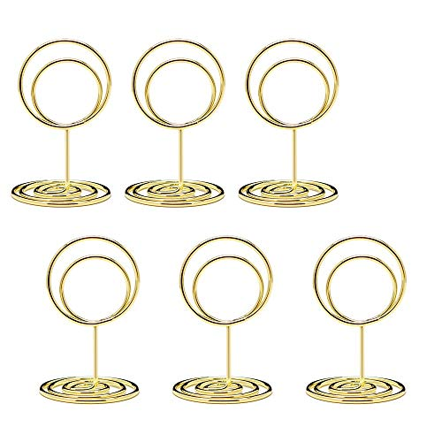 Jofefe 20pcs Mini Place Card Holders, Cute Table Number Holders, Small Size Table Card Holder Table Picture Stands, Wire Photo Holder Menu Memo Clips, Idea for Wedding, Anniversary Party (Gold)