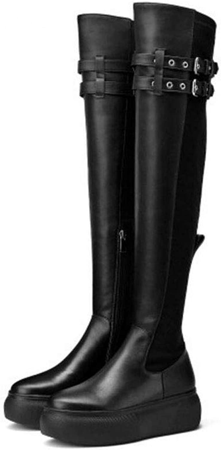 Women's Fashion Boots, Leather Fall & Winte Over-Knee Boots,Ladies Comfort Boots, High Boots Office & Career Party & Evening (color   Black Single, Size   35)