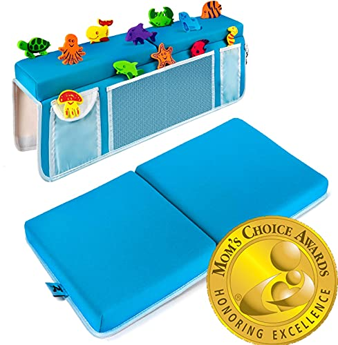 """Supa Ant Bath Kneeler and Elbow Rest Pad Set - The Only Certified Bath Kneeler & Elbow Rest in The Market– 6 Suction Cups, 5 Pockets (Organizers), 1.5"""" Thick Nonslip, Jewellery Hook (Premium)"""