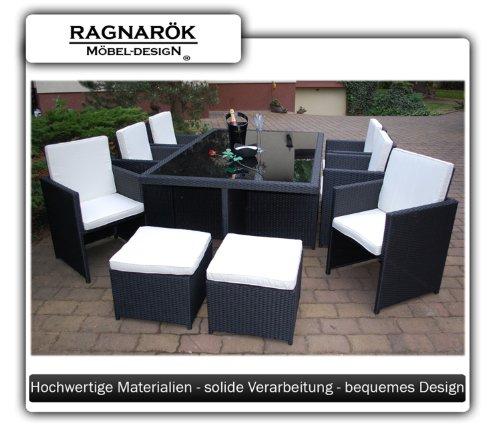 Gartenmöbel PolyRattan Essgruppe Tisch mit 6 Stühlen & 4 Hocker DEUTSCHE MARKE — EIGNENE PRODUKTION Garten Möbel incl. Glas und Sitzkissen Ragnarök-Möbeldesign - 4