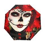 Ombrello da viaggio piccolo Antivento da esterno per pioggia Sun UV Auto compatto Copri ombrelli 3 pieghe - Ragazza messicana con teschio rosa