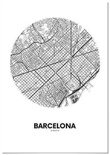 Panorama Póster Mapa Círculo de Barcelona 21 x 30 cm - Impreso en Papel 250gr - Póster Pared - Cuadros Decoración Salón y Dormitorio - Póster Decorativos - Cuadros Modernos