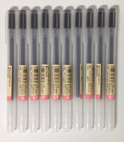 MUJI Gel Ink Ballpoint Pens 0.7mm Black color 10pcs by Muji