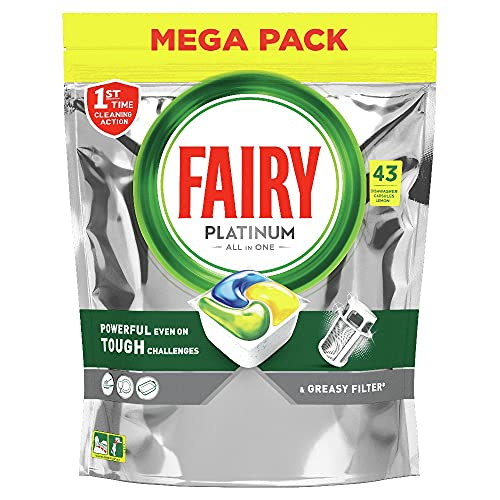 Fairy Platinum Limone Pastiglie per Lavastoviglie, 43 Capsule