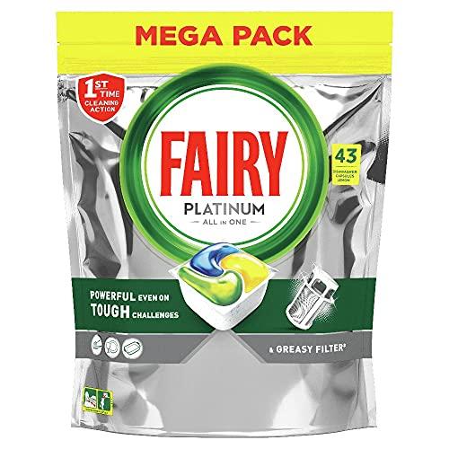 Fairy Platinum Tutto in Uno Detersivo Capsule Lavastoviglie, 43 Pastiglie, Limone, Rimuove Persino il Grasso Incrostato