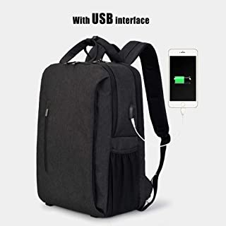 BEIHUAN Travel Laptop Backpack, Water-Resistant Business Bags with USB Charging Port School Book Bags for College Students Men & Women Outdoor Sports Fits 12-15.6 Inch Laptop-Black