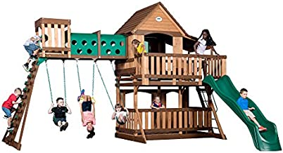 Backyard Discovery 1801080 Woodridge Elite Swing Set, Brown/Tan