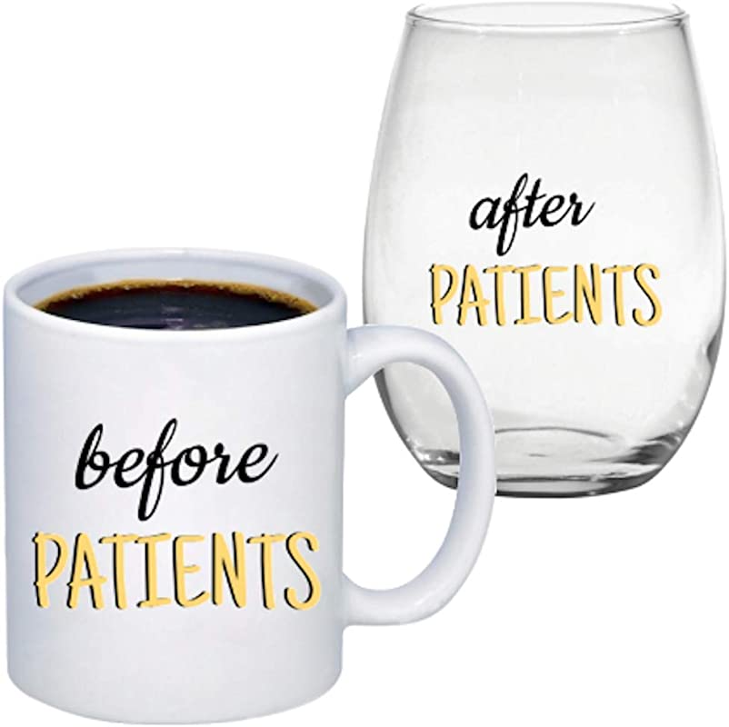 Before Patients 11 Oz Coffee Mug After Patients 15 Oz Stemless Wine Glass Set Cute Gift For Nurse Doctor Dentist Medical Physician Dental And Graduation Gifts For Nursing Students