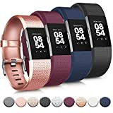 Tobfit 4 Pack Sport Bands Compatible with Fitbit Charge 2, Replacement Wristbands for Women Men, Small/Large (Small, Black/Rose Gold/Wine Red/Blue)