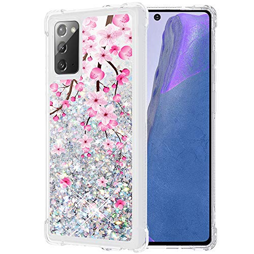 Caka Case for Galaxy Note 20 Phone Case, Galaxy Note 20 Glitter Case Sparkle Bling Flower Liquid Flowing Waterfall Quicksand Blossom Glitter for Women Girls TPU Case for Galaxy Note 20 (Cherry)