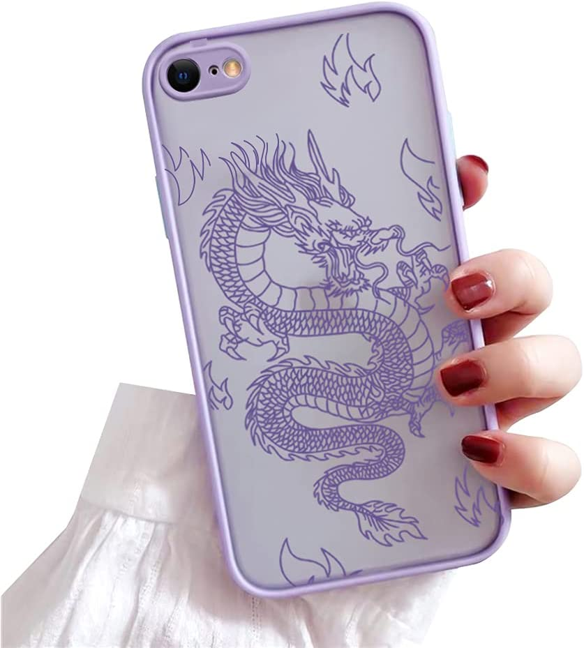 Ownest Compatible with iPhone 7/8/SE 2020 Case for Clear Fashion Animal Dragon Cartoon Pattern Frosted PC Back 3D and Soft TPU Bumper Silicone Protective Case for iPhone 7/8/SE 2020-Purple-H