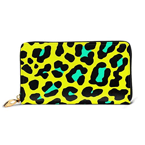 GYHJH Yellow Leopard Women's Leather Long Wallet Zip Around Clutch Lightweight Print Card Holder Large Capacity Travel Coin Purse