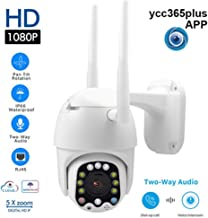 Flickering Outdoor Dome Automatic Tracking Security IP Camera - 12LED PTZ Mini WiFi,Waterproof Night Vision Full Color Motion Detection Hotspots Cam,Wireless 1080P HD 2MP CCTV Onvif
