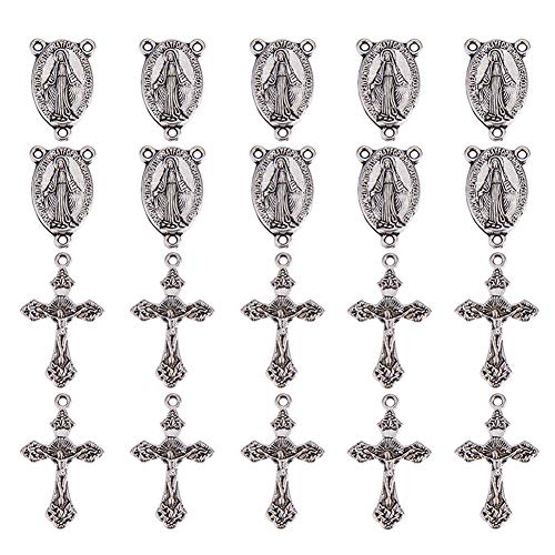 PandaHall Elite 10 Sets Tibetan Style Rosary Cross and Center Miraculous Medal with Alloy Crucifix Cross Pendants and Oval Chandelier Links for Rosary Holy Beads Necklace Making Antique Silver