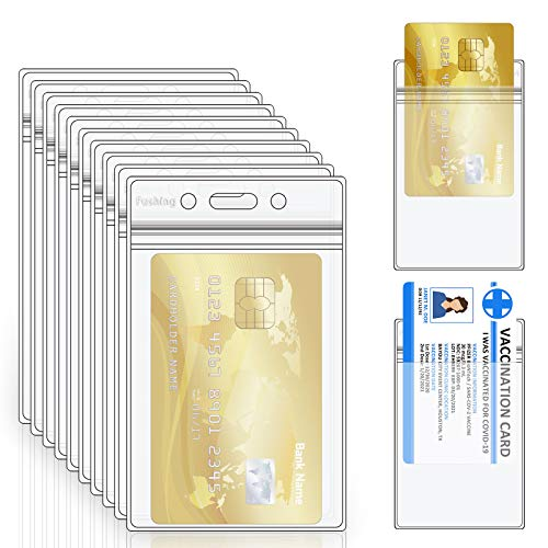 Fushing 50 Heavy Duty Double ID Card Badge Holder Clear Vertical PVC with Waterproof Type Resealable Zip, Plastic Name Tag Holder, Single Layer Thickness 0.4mm Thicker 60% Than Standard 0.25mm