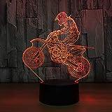 3D Offroad Motorrad Fahrrad Nachtlicht Neuheit 3D Tischlampe USB 7-Farben Sensor Touch Tischlampe als Weihnachtsgeschenk für den Sportler
