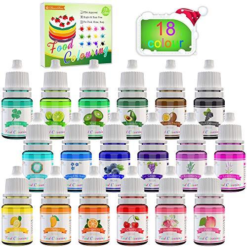 Coloranti Alimentari a 18 colori - Colorante Alimentare Liquido Concentrati per Cuocere, Decorare, Glassare e Cucinare - Coloranti Alimentari Vibranti per Fondente, Slime e Mestieri - Flaconi di 6 ml