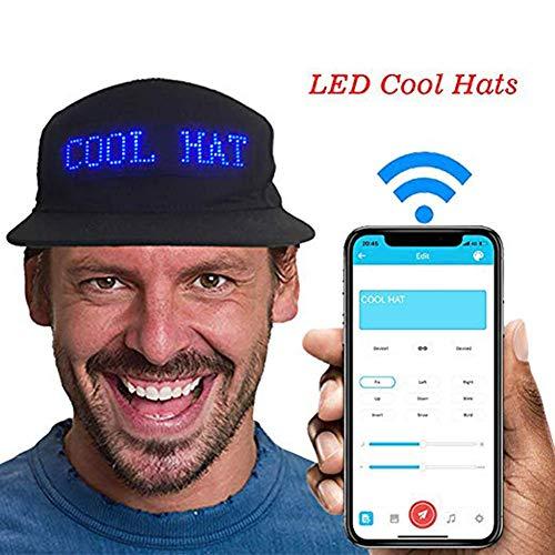Qjdecoy Unisex Leuchtende LED-Anzeige Mehrsprachiger Drahtloser Bluetooth Justierbarer Partei-Baseballmütze-Sonnenhut Schwarz