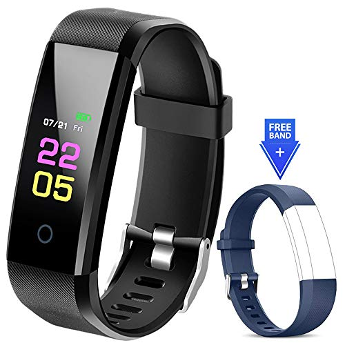 Fitness Tracker - Activity Tracker Watch with Heart Rate Blood Pressure Monitor, Waterproof Watch with Sleep Monitor, Calorie Step Counter Watch for kids Women Men Compatible Android iPhone Smartphone