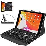 OMOTON Funda con Teclado iPad 8 2020 10.2, iPad 7 10.2 2019, iPad Air 3 10.5, iPad Pro 10.5, Teclado Retroiluminado Desmontable, Funda Durable con iPad 10.2/ iPad 10.5, Negro
