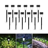 Luces solares led exterior jardin, Aigostar 12 Pcs Lamparas solares Jardín, resistente al agua IP44. Recomendado para jardines o terrenos blandos donde colocarlo