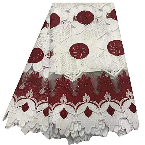 Afrikaanse kant stof Borduren Lace Afrikaanse Franse Kant guipurekant Stof Afrikaanse kant stof Nigeriaanse Lace Fabrics for Wedding Naaibenodigdheden (Color : Red and white, Size : 5 yards)
