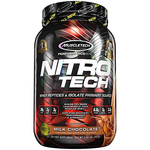Muscletech Performance Series Nitrotech Whey Protein Peptides & Isolate (30g Protein, 2g Sugar, 3g Creatine, 6.8 BCAAs, 5g Glutamine & Precursor, 3.3g Leucine,Post-Workout) - 2lbs (907g) (Strawberry)
