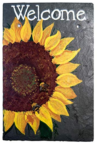 Welcome Sunflower Chalk Art Painted Sign on 12 by 8 Inch Slate Board