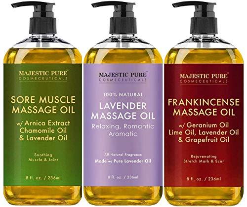 Majestic Pure Sore Muscle Massage Oil, Lavender Massage Oil & Frankincense Massage Oil Bundle – 8 fl oz Each