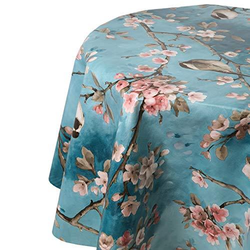 DecoHomeTextil Wachstuch Tischdecke Wachstischdecke Gartentsichdecke Vogel Spatz Türkis Rund 130 cm abwaschbar Farbe und Größe wählbar