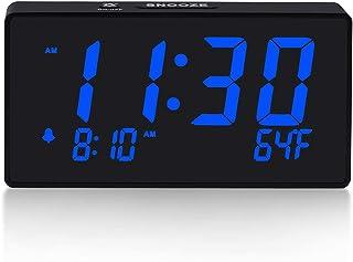 Digital Alarm Clock with Simple Operation, Adjustable Alarm Volume, Full Range Brightness Dimmer, Large 6