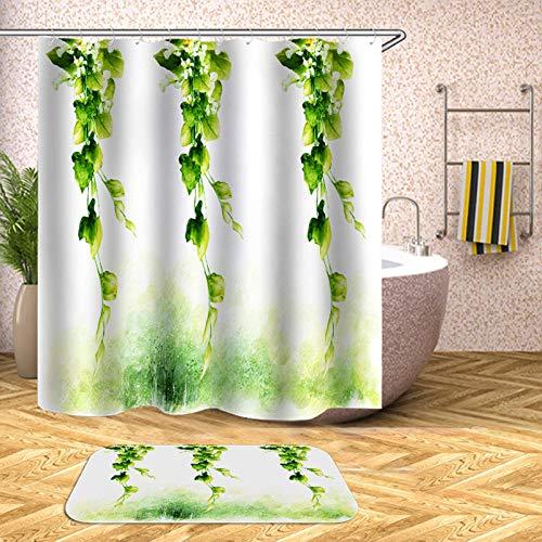 chuanglanja douchegordijn, wasbaar, douchegordijn, waterdichte gordijnen van polyester met opdruk, bladgroen 180 x 200 cm