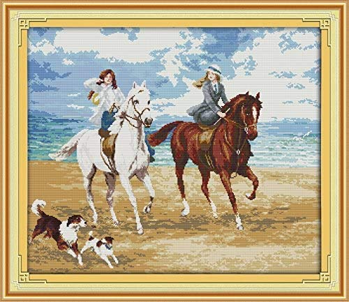 Happy Forever Cross Stitch Kits 11CT Stamped Patterns for Kids and Adults, DIY Preprinted Embroidery kit for Beginner, Life is Wonderful (R464 Horse Riding, Size 27''x23'')