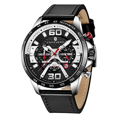 Reloj Deportivo Militar para Hombre con Correa de Cuero 30M Impermeable SAPPHERO CRONÓGRAFO Relojes analógicos con Calendario Luminoso Reloj de Pulsera de Cuarzo Informal y de Negocios para Hombres