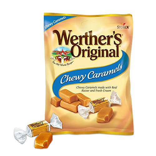 WERTHERS ORIGINAL Chewy Caramels, 5.0 Ounce Bags (Pack of 12), Bulk Candy, Individually Wrapped Candy Caramels, Caramel Candy Sweets, Bag of Candy, 5oz Chewy Caramel